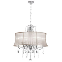 Dainolite Formal 6 Light Chandelier in Polished Chrome with Oyster Organza Shade 615-270C-PC-117