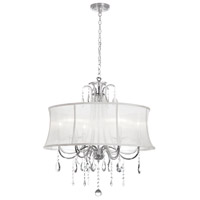 Dainolite Formal 6 Light Chandelier in Polished Chrome with White Organza Shade 615-270C-PC-119