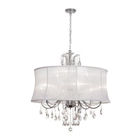 Dainolite Formal 9 Light Chandelier in Polished Chrome with White Organza Shade 615-369C-PC-119