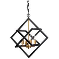 Dainolite 682-234P-BK-VB Signature 4 Light 23 inch Black and Vintage Bronze Pendant Ceiling Light Adjustable