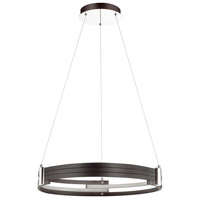 Pono LED 24 inch Matte Black and Polished Chrome Pendant Ceiling Light