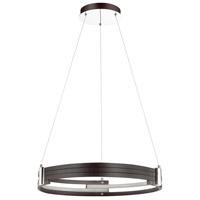 Dainolite 722-LEDP24-MB Pono LED 24 inch Matte Black and Polished Chrome Pendant Ceiling Light
