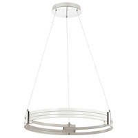 Pono LED 24 inch Matte White and Polished Chrome Pendant Ceiling Light