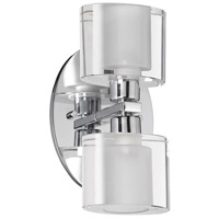 Frosted Oval 2 Light 8 inch Polished Chrome Vanity Wall Light