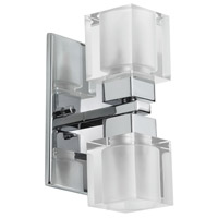 Glass Cube 2 Light 4 inch Polished Chrome Vanity Wall Light