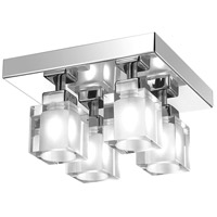 New Era 4 Light 8 inch Polished Chrome Semi Flush Ceiling Light