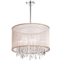 Dainolite Bohemian 6 Light Chandelier in Polished Chrome with Oyster Organza Shade 85301-PC-117