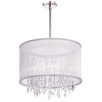 Dainolite Bohemian 6 Light Chandelier in Polished Chrome with White Organza Shade 85301-PC-119 photo thumbnail