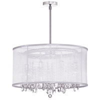 Dainolite Bohemian 8 Light Chandelier in Polished Chrome with White Organza Shade 85302-PC-119