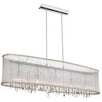 Dainolite Bohemian 5 Light Chandelier in Polished Chrome with Oyster Organza Shade 85303A-46-117