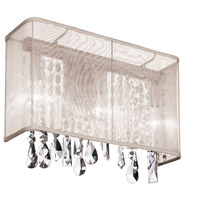 Dainolite Bohemian 1 Light Sconce in Polished Chrome with Oyster Organza Shade 85306W-44-117