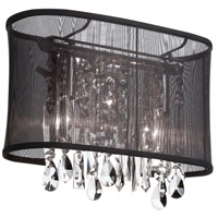 Dainolite Bohemian 1 Light Sconce in Polished Chrome with Black Organza Shade 85306W-46-115
