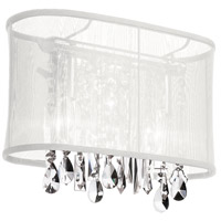 Dainolite Bohemian 1 Light Sconce in Polished Chrome with White Organza Shade 85306W-46-119