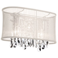 Dainolite Bohemian 2 Light Vanity in Polished Chrome with Oyster Organza Shade 85310W-46-117