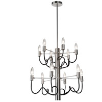 Abaco 12 Light 22 inch Matte Black and Satin Chrome Chandelier Ceiling Light