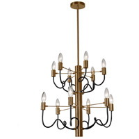 Abaco 12 Light 22 inch Matte Black and Vintage Bronze Chandelier Ceiling Light