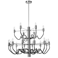 Abaco 18 Light 28 inch Matte Black and Satin Chrome Chandelier Ceiling Light