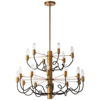 Abaco 18 Light 28 inch Matte Black and Vintage Bronze Chandelier Ceiling Light