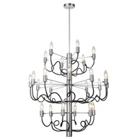 Abaco 24 Light 29 inch Matte Black and Satin Chrome Chandelier Ceiling Light