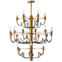 Abaco 24 Light 29 inch Matte Black and Vintage Bronze Chandelier Ceiling Light