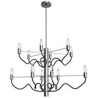 Abaco 12 Light 32 inch Matte Black and Satin Chrome Chandelier Ceiling Light
