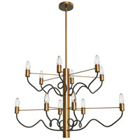Abaco 12 Light 32 inch Matte Black and Vintage Bronze Chandelier Ceiling Light