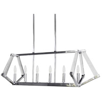 Aalto 6 Light 38 inch Polished Chrome Horizontal Pendant Ceiling Light