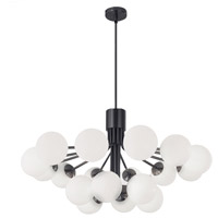 Dainolite AMA-3618C-MB Amanda 18 Light 36 inch Matte Black/Opal White Chandelier Ceiling Light
