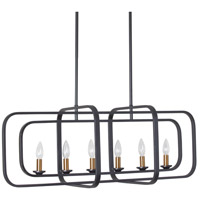 Amberly LED 35 inch Black and Vintage Bronze Horizontal Pendant Ceiling Light