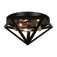 Dainolite Archello 3 Light Flush Mount in Matte Black with Antique Brass ARC-123FH-AB