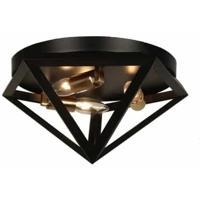 Dainolite ARC-123FH-AB Archello LED 12 inch Matte Black with Antique Brass Flush Mount Ceiling Light
