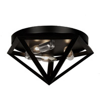 Archello 3 Light 12 inch Matte Black with Satin Chrome Flush Mount Ceiling Light