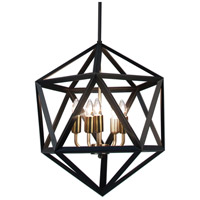 Dainolite ARC-185C-AB Archello 5 Light 18 inch Matte Black with Antique Brass Chandelier Ceiling Light