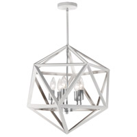 Archello 5 Light 18 inch Matte White and Satin Chrome Chandelier Ceiling Light, Can Be Flush Mounted