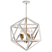 Archello 5 Light 18 inch Matte White and Vintage Bronze Chandelier Ceiling Light, Can Be Flush Mounted