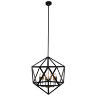 Dainolite ARC-226C-AB Archello 6 Light 22 inch Matte Black with Antique Brass Chandelier Ceiling Light