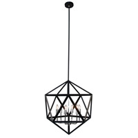 Dainolite ARC-226C-SC Archello 6 Light 22 inch Matte Black with Satin Chrome Chandelier Ceiling Light