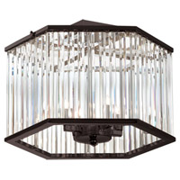 Dainolite Aruba 4 Light Semi Flush in Vintage Oiled Brushed Bronze with Optical Crystals ARU-154SF-VOB