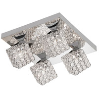 Asscher 4 Light 12 inch Polished Chrome Flush Mount Ceiling Light