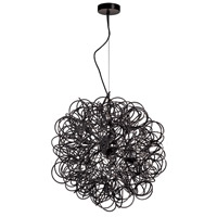 Dainolite Baya 6 Light Pendant in Chrome with Black Shade BAY-166LP-BK