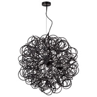 Dainolite Baya 8 Light Pendant in Chrome with Black Shade BAY-248LP-BK