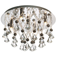 Dainolite Signature 5 Light Flush Mount in Polished Chrome with Optical Crystals CG8817FH-PC