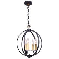 Cosmopolitan 4 Light 15 inch Vintage Bronze and Black and Clear Chandelier Ceiling Light