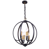 Cosmopolitan 6 Light 20 inch Vintage Bronze and Black and Clear Chandelier Ceiling Light
