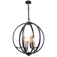 Cosmopolitan 6 Light 24 inch Vintage Bronze and Black and Clear Chandelier Ceiling Light