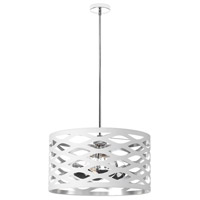Cutouts 4 Light 22 inch White and Silver Pendant Ceiling Light