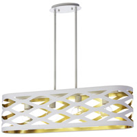 Cutouts 4 Light 33 inch White and Gold Pendant Ceiling Light