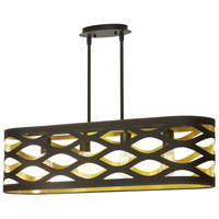 Cutouts 4 Light 33 inch Black and Gold Pendant Ceiling Light