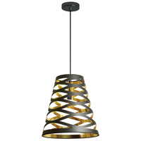 Cutouts 1 Light 7 inch Black and Gold Pendant Ceiling Light
