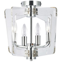 Clearwater 4 Light 14 inch Polished Chrome/Clear Semi-Flush Mount Ceiling Light